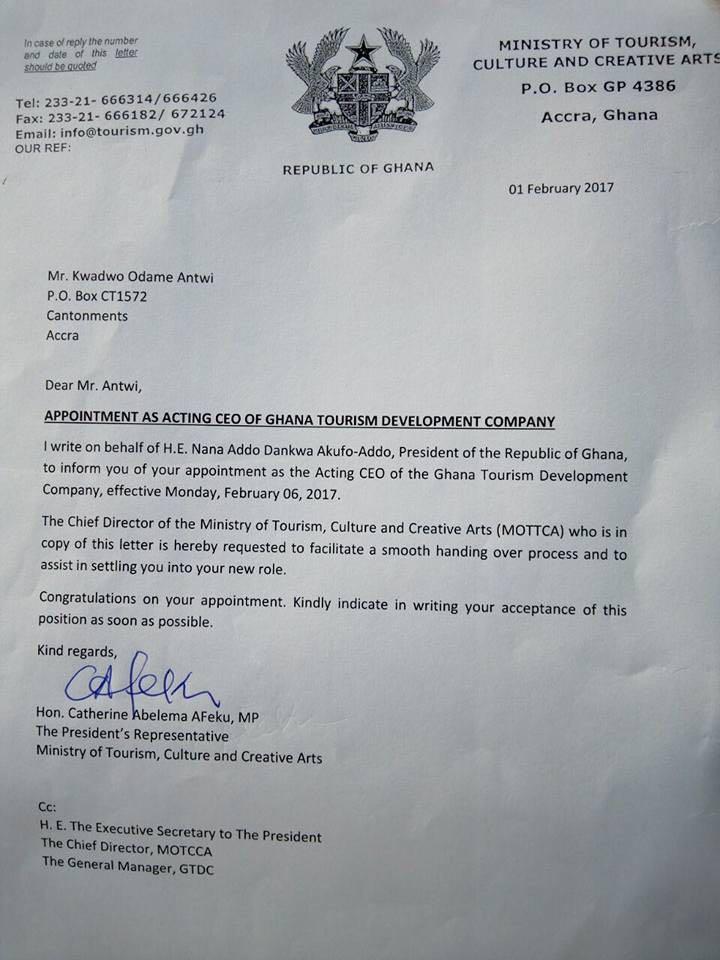 Kwadwo antwi heads ghana tourist devt company see appointment kwadwo antwi heads ghana tourist devt company see appointment letter altavistaventures Images