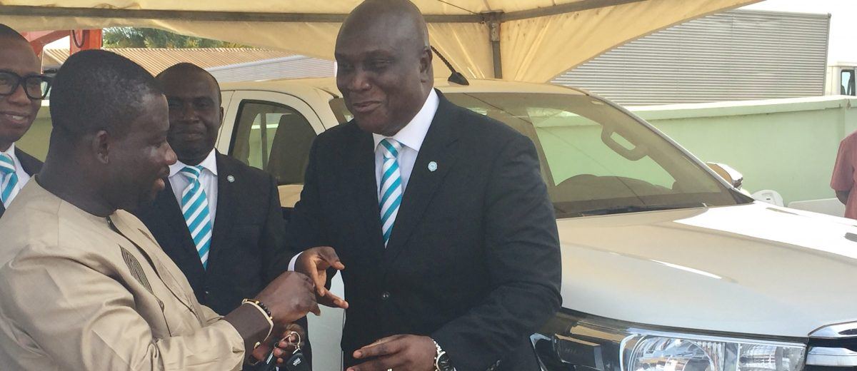 uniBank donates Pick-up, roofing sheets and Cash to NADMO