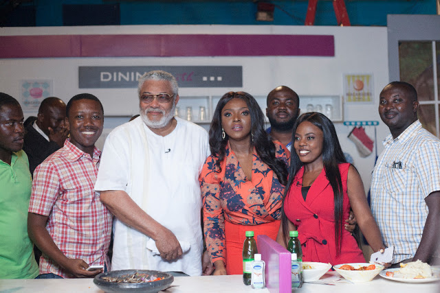 """PHOTOS: Ex Prez Rawlings shows cooking skills on Yvonne Okoro's TV show """"Dining With"""""""