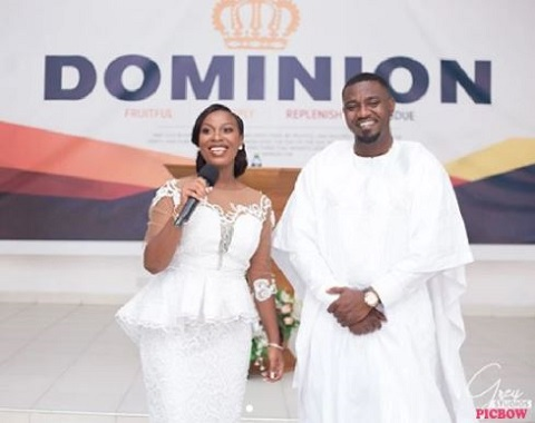 John Dumelo and Mawunya at thanksgiving service after their marriage