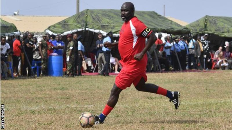 Liberia Prez George Weah plays friendly against Nigeria at 51
