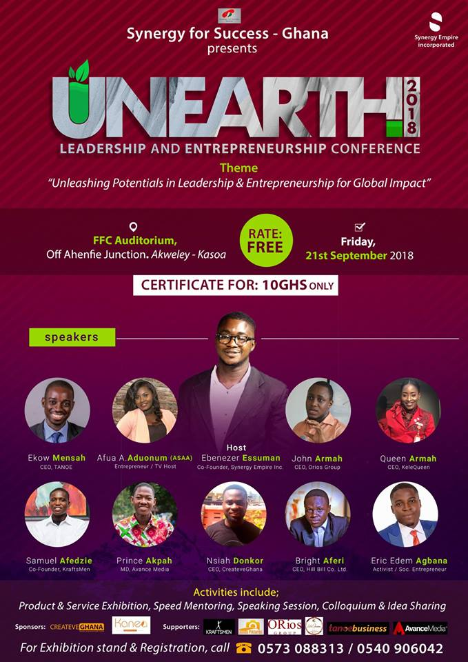 Prince Akpah, Afua Asantewaa, Others to speak at 2018 UNEARTH Conference