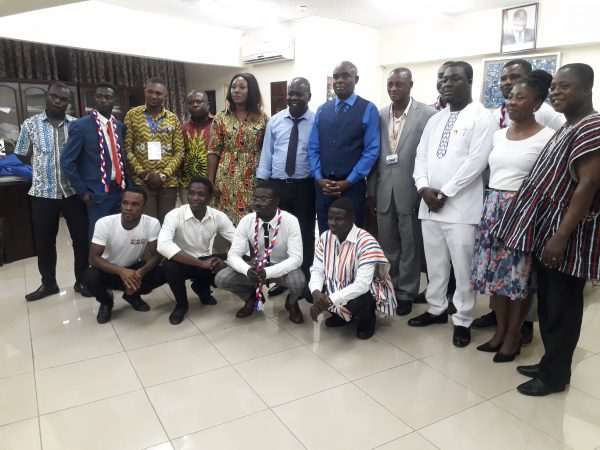 Mr. Frank Asiedu Bekoe with the Vice Chancellor of the UPSA, Prof. Okoe Abednego Feehi Amartey and the newly sworn in TESCON executives of the UPSA