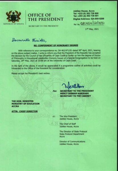 UCC to confer Honorary Doctorate Degree on President Akufo Addo. 49